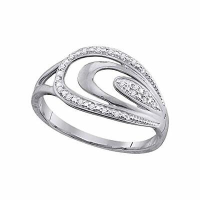 10kt White Gold Womens Diamond Oval Fashion Ring 1/20-Carat tw