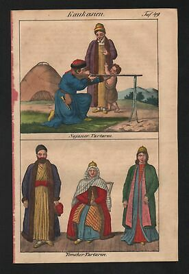1830 - Caucasus Tartary Russia Tomsk Siberia natives costumes Lithograph
