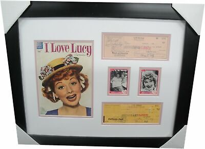 Lucille Ball & Desi Arnaz Signed Personal Checks Framed w/ Comic I Love Lucy A1