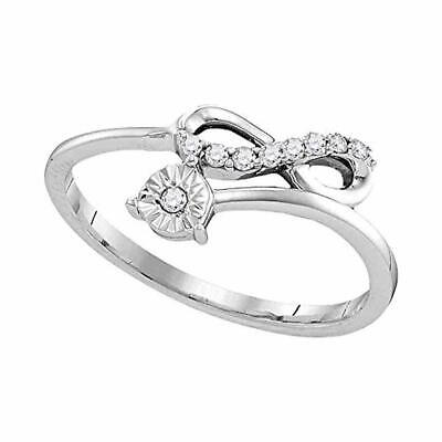 Sterling Silver Womens Diamond Band Fashion Ring 1/10-Carat tw