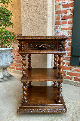 Antique French Carved Oak END SQUARE TABLE Nightstand BARLEY TWIST Display Stand