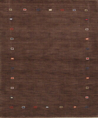 Kid's Room Abstract Contemporary Gabbeh Modern Brown Oriental Area Rug Wool 5x6