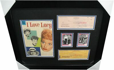 Lucille Ball & Desi Arnaz Signed Personal Checks Framed w/ Comic I Love Lucy C3