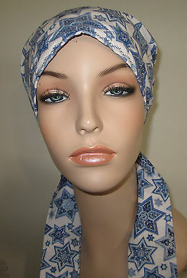 Womens Chemo Star of David Cancer Hat Alopecia Hair Cover Pre-Tied Scarf