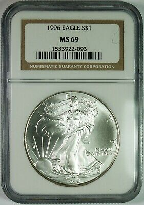 1996 $1 American Silver Eagle Coin NGC MS69 **Key Date**