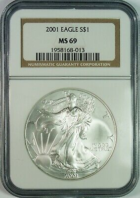 2001 $1 American Silver Eagle Coin NGC MS69