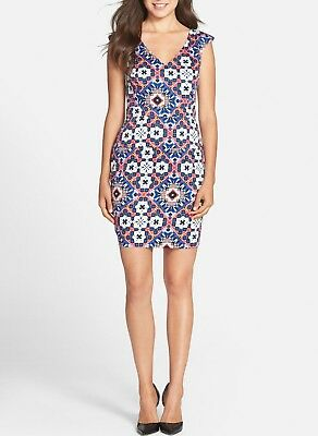 $158 French Connection Electric Mosaic Print Sheath Dress Blue Combo Size 0