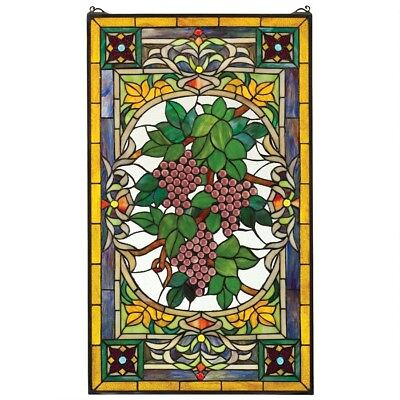 Fruit Of The Vine Stained Glass Window Design Toscano Exclusive Art Glass