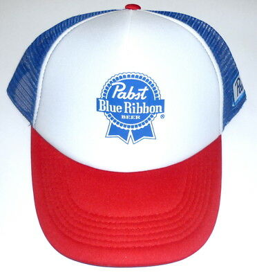 46b19526bb2 Pabst Blue Ribbon Beer PBR Trucker Hat Blue Red White NEW Snapback Cap Mesh