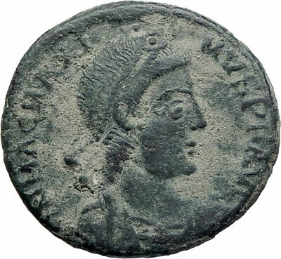MAGNUS MAXIMUS Authentic Ancient 383AD Arles Genuine Roman Coin w WOMAN i74824