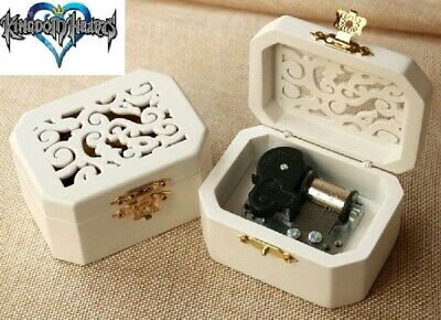 WHITE WOOD OCTAGON CARVING MUSIC BOX : ♫ Kingdom Hearts Theme Soundtrack ♫