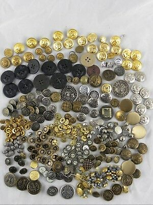 Lot of 325+ Vintage Sewing Buttons-Military Coat Metal Eagle Plastic Crafts