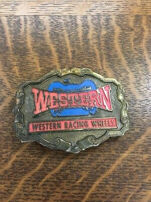Vintage Western Racing Wheels Brass Belt Buckle