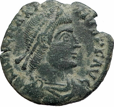 MAGNUS MAXIMUS Authentic Ancient 383AD Arles Genuine Roman Coin w WOMAN i74899