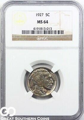 1927 NGC Buffalo Nickel MS 64 ** Nice Strike!