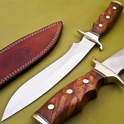Custom Hand Made Stainless Steel Hunting Knife- Natural Wood- Jk-1879