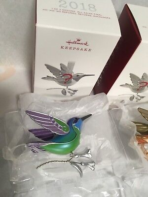 Hallmark Hummingbird Beauty of Birds Green Purple Surprise Xmas Ornament 2018