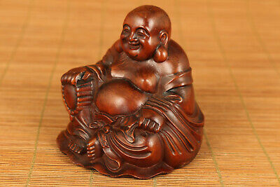 antique chinese old boxwood hand carved buddha statue netsuke collectable