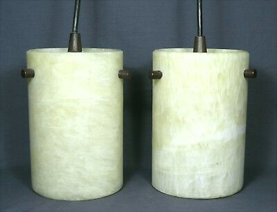 "Pair of ALABASTER PENDANT LAMPS by Litex 34"" drop EXCELLENT CONDITION + QUALITY"