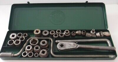 Vtg DURO Metal Products Socket Ratchet Set 30 Piece w/Case Made USA Free Ship