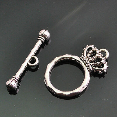 10/20/50sets Anti-Silver Alloy Toggle Crown Clasp Hook 25mm length 15*24mm DZ129