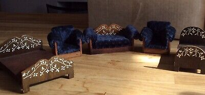 Vintage Dolls House Handmade Furniture 3 Piece Suite And Double And Single Bed