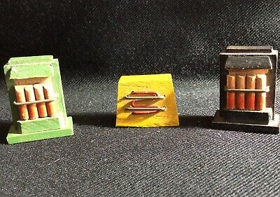 3 Vintage Wooden Dolls House Fire Heaters
