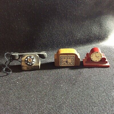 Vintage Wooden Dolls House Mantle Clocks And Telephone
