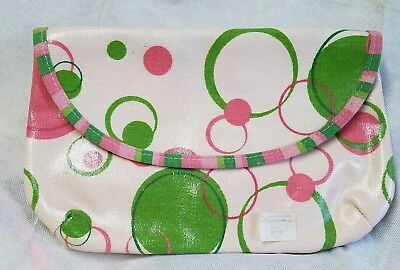 Oil Cloth DIAPER  HOLDER - Pouch w/ Hook/Loop Closure - Pink & Green Circles NEW