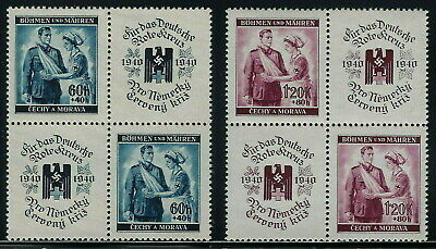 Bohemia & Moravia WWII Occupation 1940 Red Cross Set Blocks of Four VF MNH!