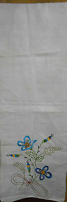 Vintage EMBROIDERED TABLE RUNNER Flowers CHERRIES Initials 80x14 STUNNING  #5