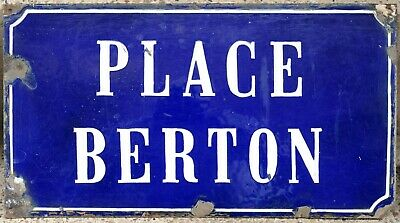 Old blue French enamel street sign road plaque Thouars Place Berton composer