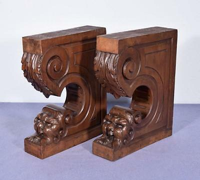 *Pair of XL Antique French Walnut Corbels/Brackets Carved Architectural Columns