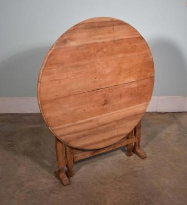 *Antique French Solid Cherry and Oak Wine Tasting Table with Tilt Top