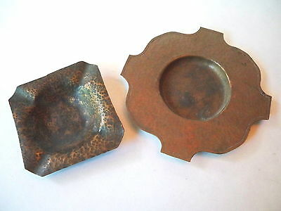 Arts & Crafts Hammered Copper Ashtrays Two Of Them No Hallmarks