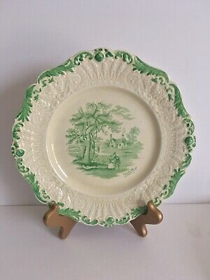 """Ridgways Green 9"""" Plate Dickens' Outside The Schoolhouse"""