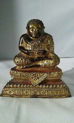 Antique 19th Century Gilt Bronze  Buddha God Thailand