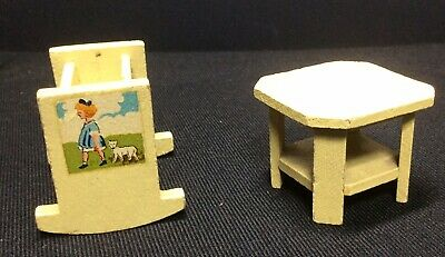 Vintage Dolls House Dol Toi Rocking Crib/Cot And Octagonal Table