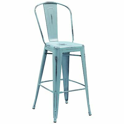 """Tolix Style Metal Outdoor Distressed Blue Industrial Restaurant 30"""" Bar stool"""