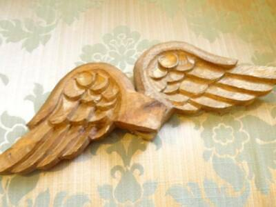A Stunning Pair 19th Century Hand Carved French Angel Wings