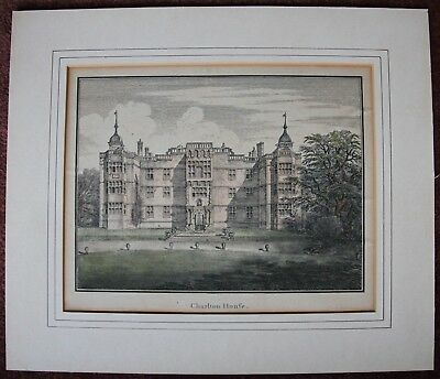 1790's - 1800's Antique Hand coloured engraving Charlton Manor House Greenwich