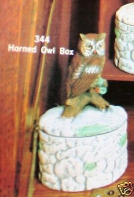 Ceramic Bisque Horned Owl Box Scioto Mold 344 U-Paint Ready To Paint
