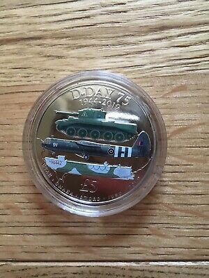 2019 £5 Five Pound D-DAY 75th ANNIVERSARY WW2, 1944 - 2019, Coloured Coin BUNC