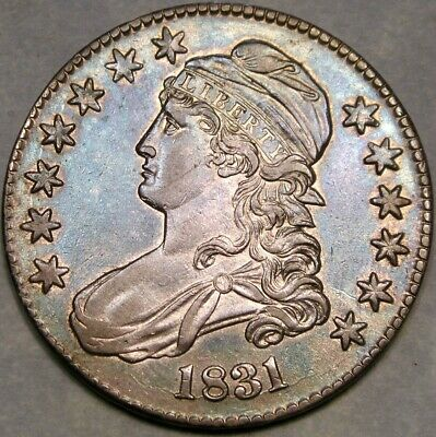 1831 Capped Bust Lettered Edge Silver Half Dollar Appealing Beautiful Blue Tones