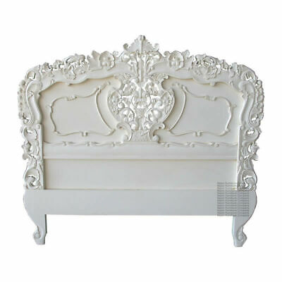 Rococo Headboard - Antique White - Suitable Double or King Size