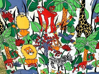 Vintage  Childrens  Fabric.   Jungle Theme Rubber Backed ( Ex Curtains )