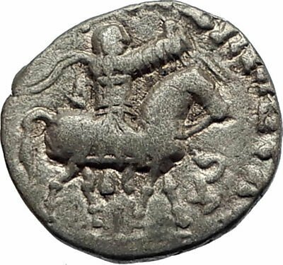 JESUS CHRIST Birth Magii Azes II on Horse 35BC Ancient Silver Greek Coin i75562