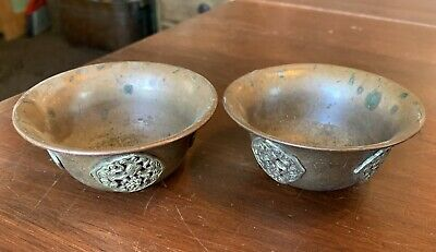 """2 Vintage Small Copper and Silver Offering Bowls from Tibet Nepal, 3 3/8"""""""