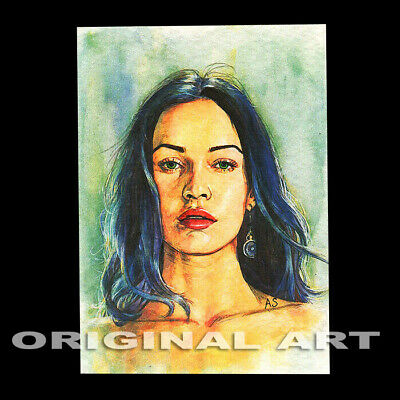 original hand painting drawing modern watercolor art picture ACEO woman portrait