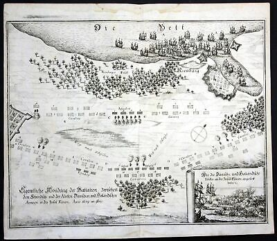1693 Nyborg Fünen Danmark battle Schlacht map Plan Kupferstich antique print